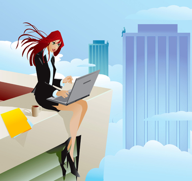Image of girl sitting with laptop sitting on top of skyscraper